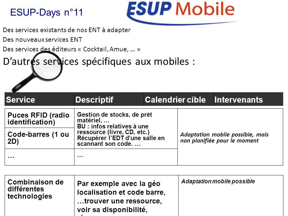 D'autres services spécifiques aux mobiles :