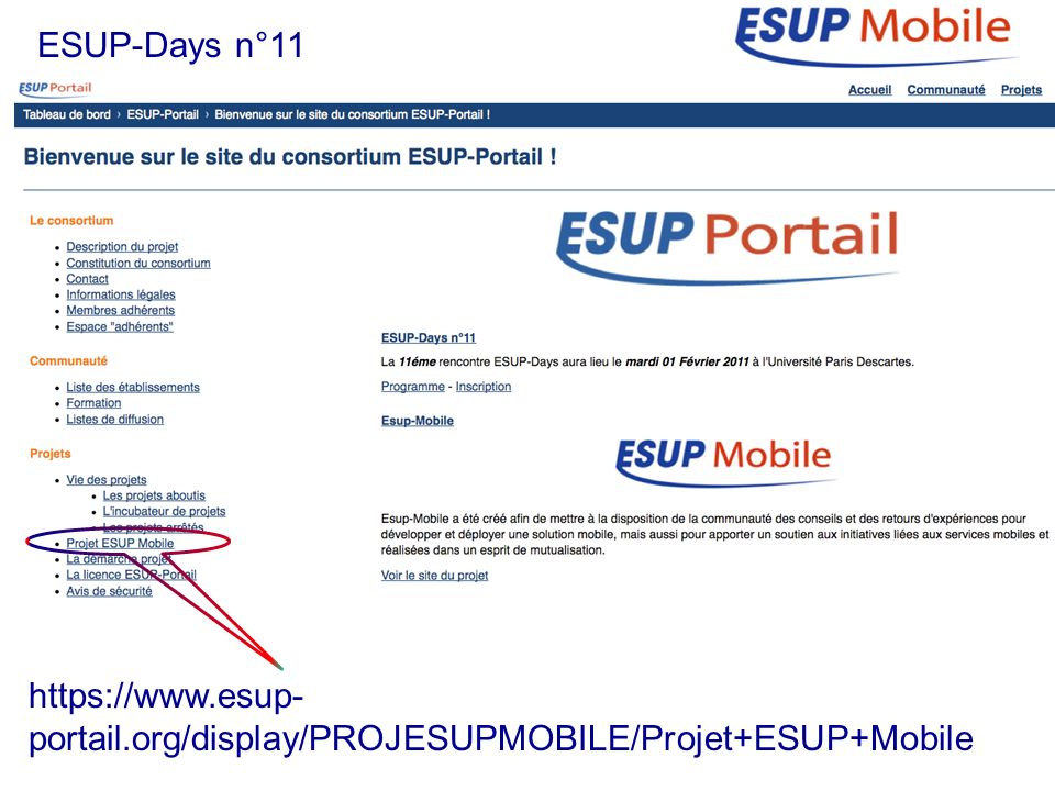 30/06/10 30/06/10. ESUP-Days n°11. https://www.esup-portail.org/display/PROJESUPMOBILE/Projet+ESUP+Mobile.