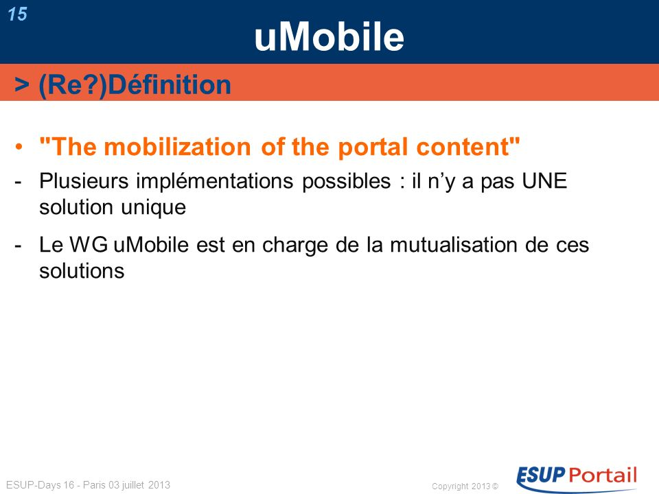 uMobile > (Re )Définition The mobilization of the portal content