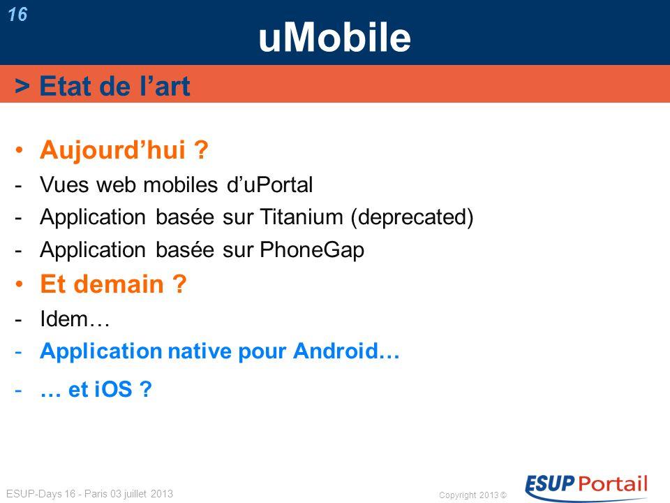 uMobile > Etat de l'art Aujourd'hui Et demain