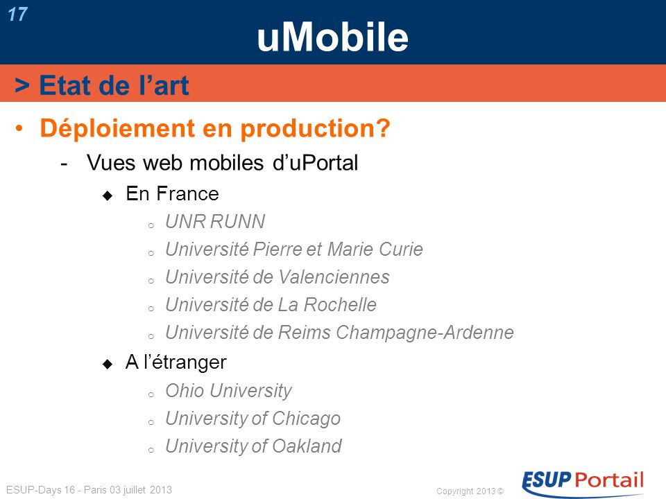 uMobile > Etat de l'art Déploiement en production