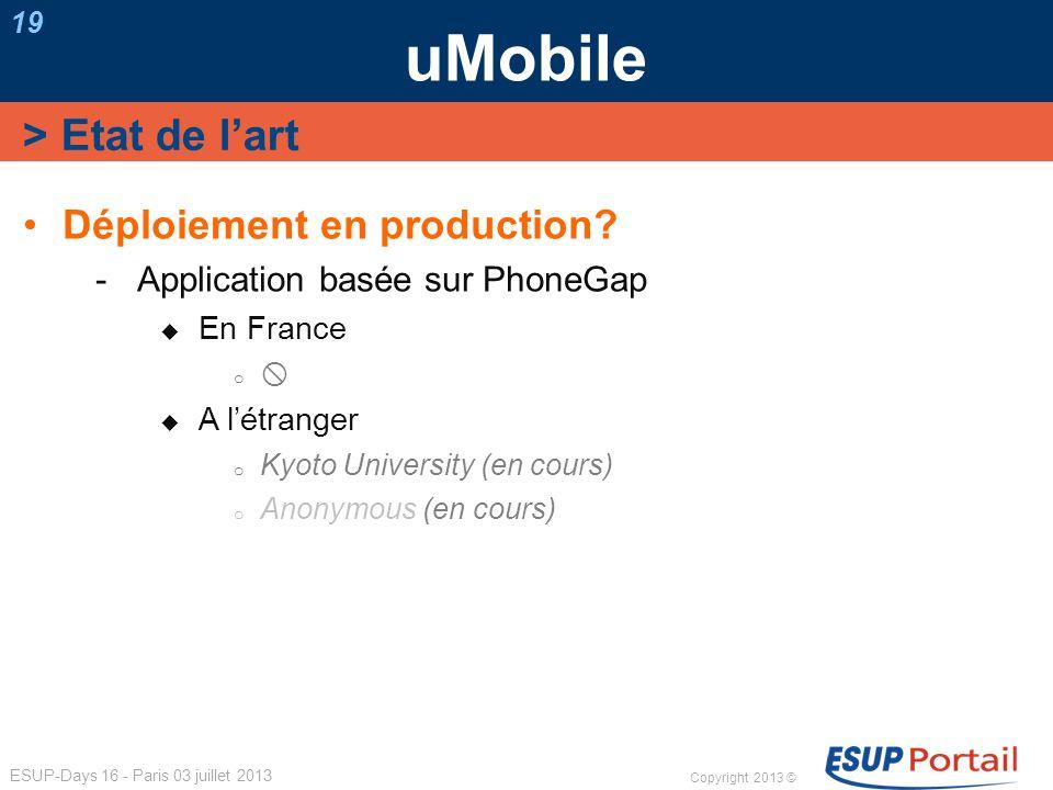 uMobile > Etat de l'art Déploiement en production