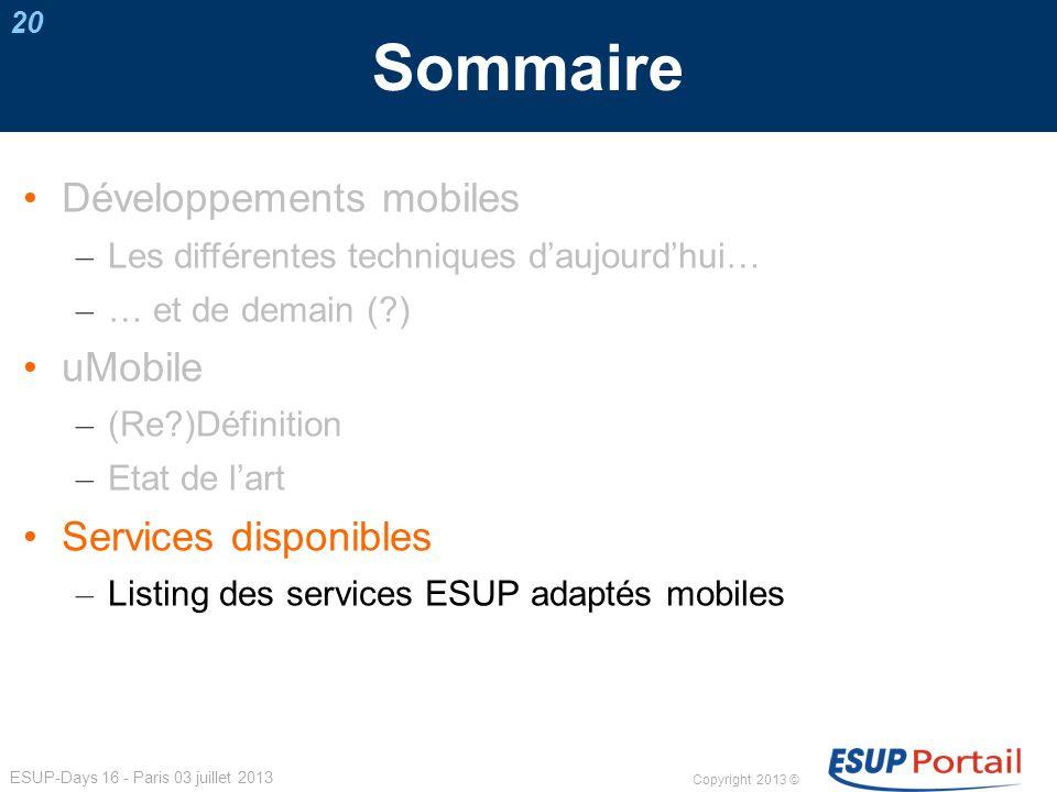 Sommaire Développements mobiles uMobile Services disponibles