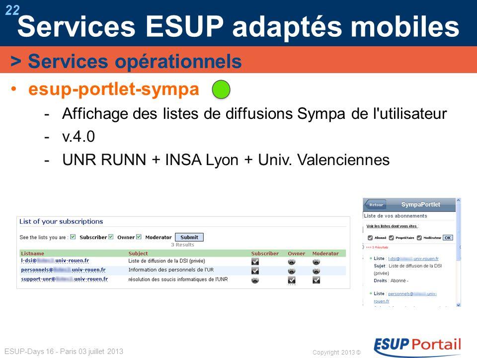 Services ESUP adaptés mobiles