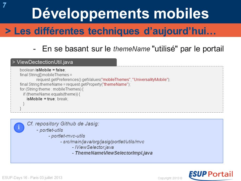 Développements mobiles