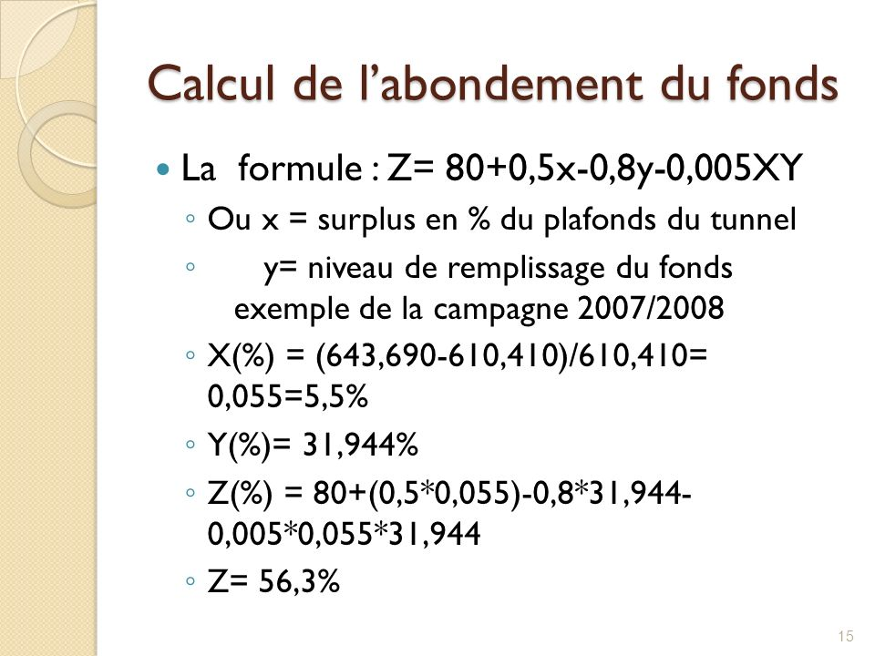 Calcul de l'abondement du fonds