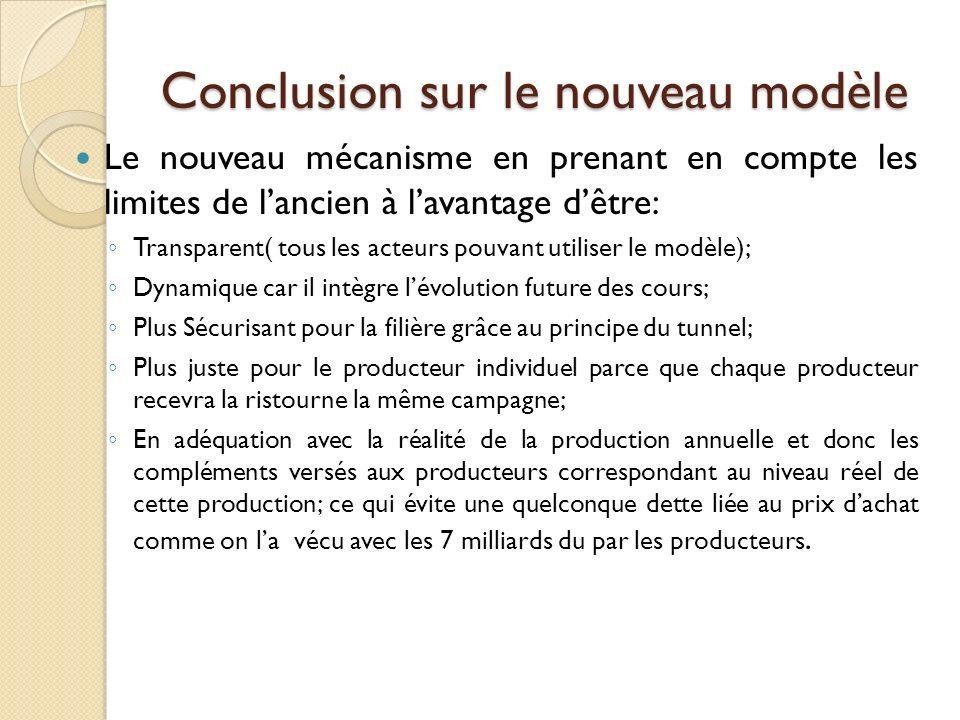 Conclusion sur le nouveau modèle