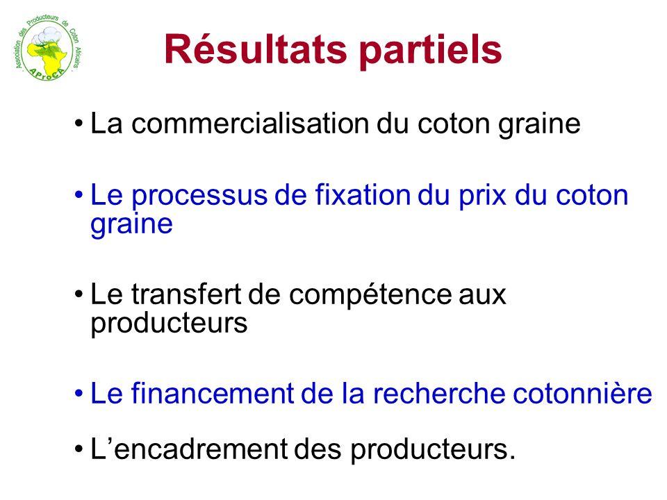 Résultats partiels La commercialisation du coton graine