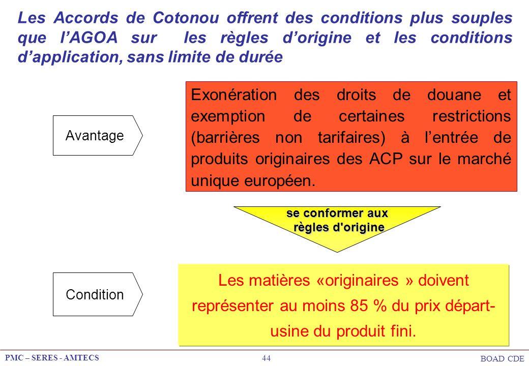 Les Accords de Cotonou offrent des conditions plus souples que l'AGOA sur les règles d'origine et les conditions d'application, sans limite de durée