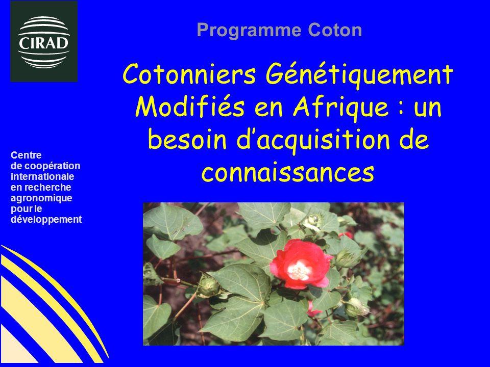 Centre de coopération. internationale. en recherche. agronomique. pour le. développement. Programme Coton.