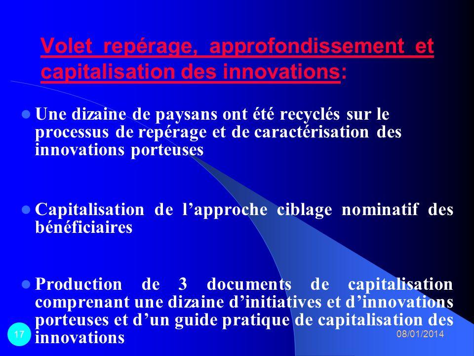 Volet repérage, approfondissement et capitalisation des innovations: