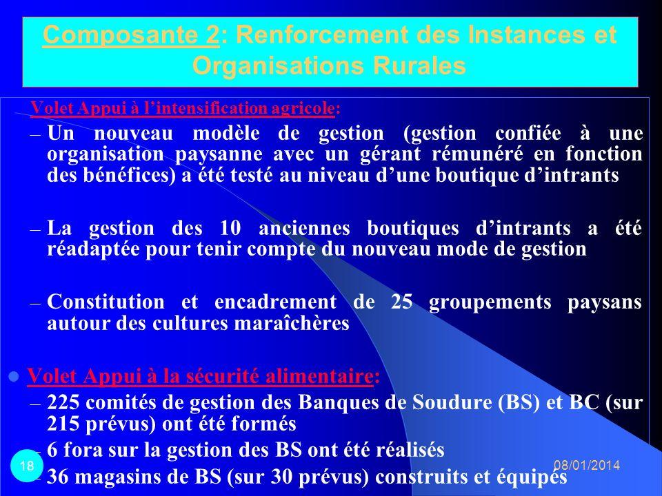 Composante 2: Renforcement des Instances et Organisations Rurales