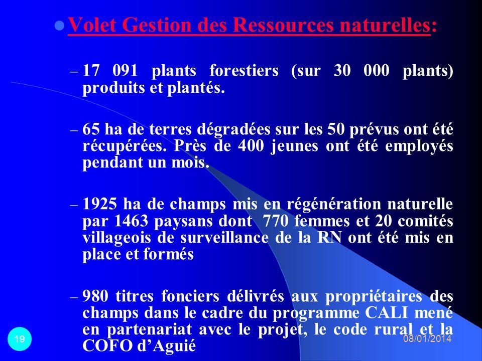 Volet Gestion des Ressources naturelles: