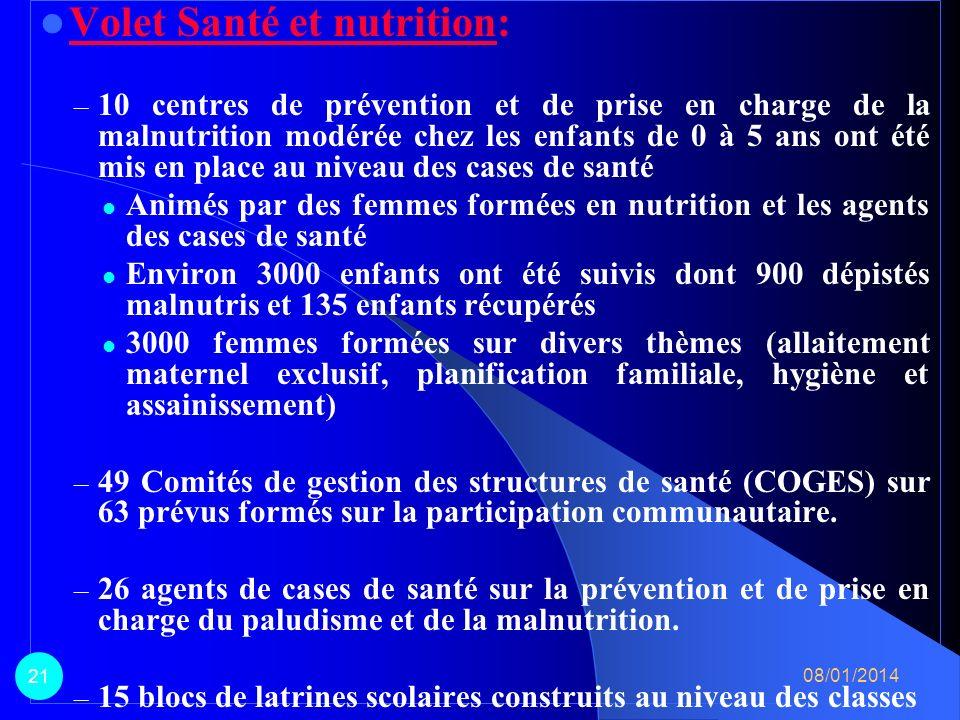 Volet Santé et nutrition: