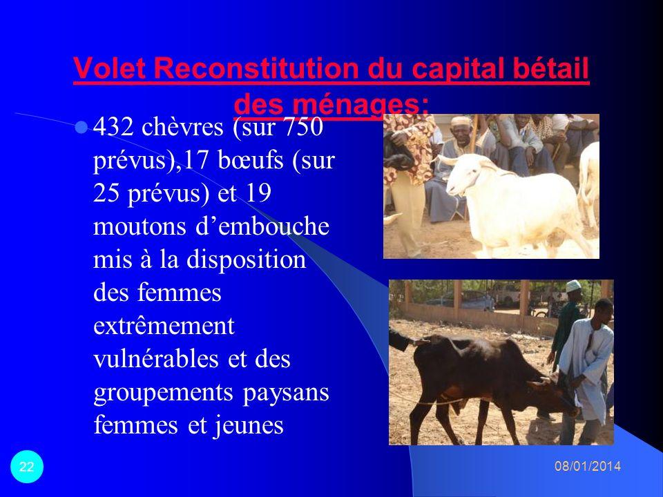 Volet Reconstitution du capital bétail des ménages: