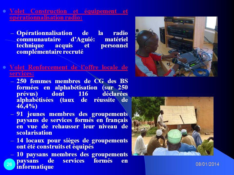 Volet Construction et équipement et opérationnalisation radio: