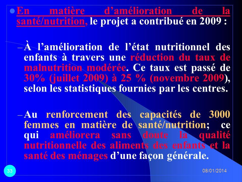 En matière d'amélioration de la santé/nutrition, le projet a contribué en 2009 :