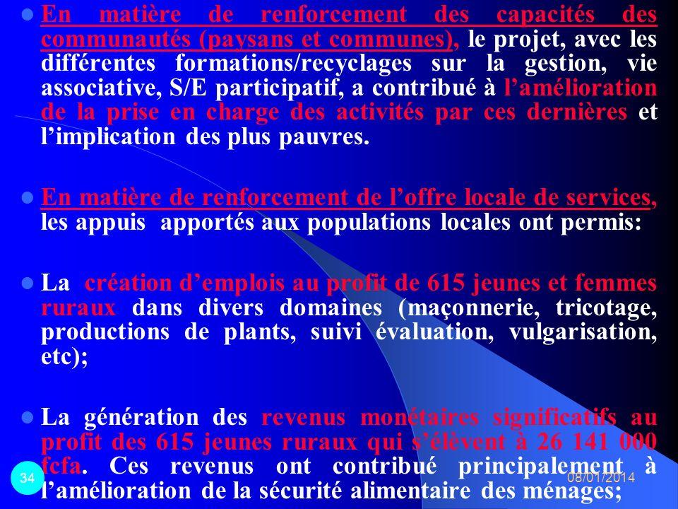 En matière de renforcement des capacités des communautés (paysans et communes), le projet, avec les différentes formations/recyclages sur la gestion, vie associative, S/E participatif, a contribué à l'amélioration de la prise en charge des activités par ces dernières et l'implication des plus pauvres.
