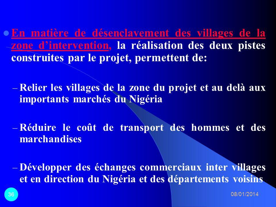 En matière de désenclavement des villages de la zone d'intervention, la réalisation des deux pistes construites par le projet, permettent de: