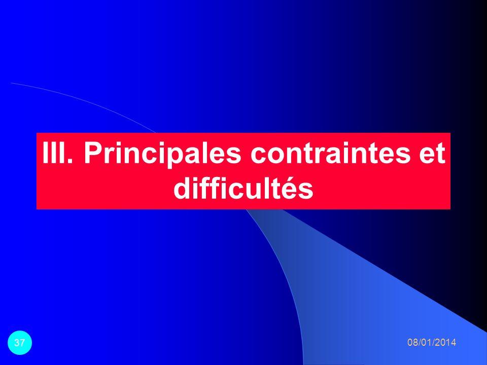 III. Principales contraintes et difficultés