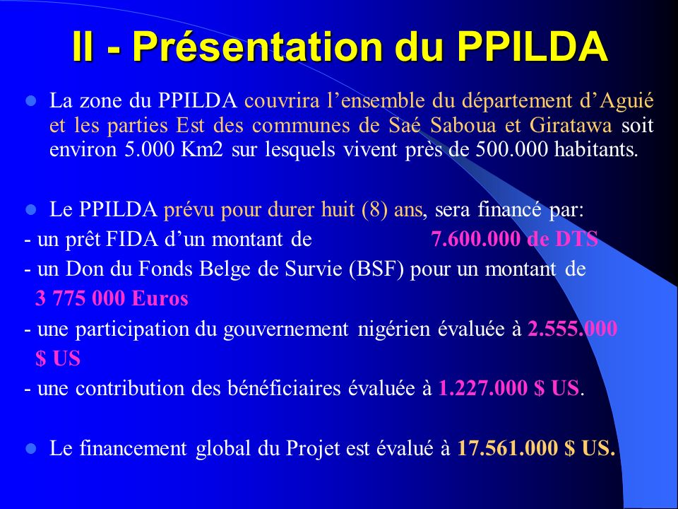II - Présentation du PPILDA