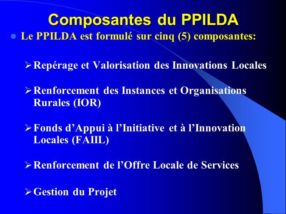 Composantes du PPILDA Le PPILDA est formulé sur cinq (5) composantes: