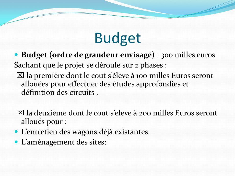 Budget Budget (ordre de grandeur envisagé) : 300 milles euros