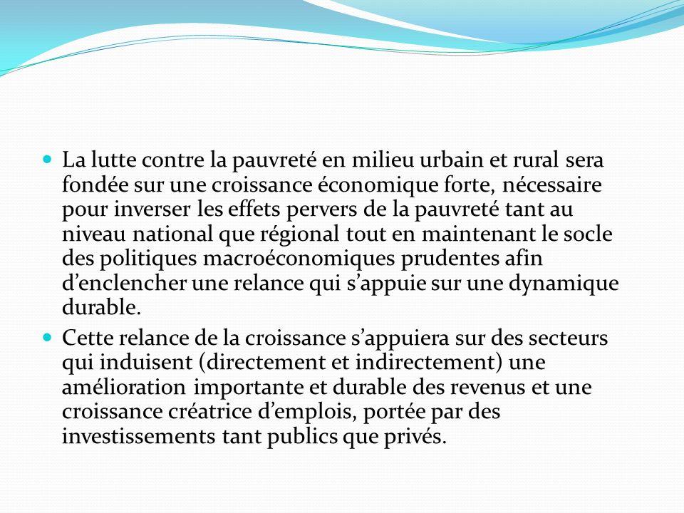 La lutte contre la pauvreté en milieu urbain et rural sera fondée sur une croissance économique forte, nécessaire pour inverser les effets pervers de la pauvreté tant au niveau national que régional tout en maintenant le socle des politiques macroéconomiques prudentes afin d'enclencher une relance qui s'appuie sur une dynamique durable.