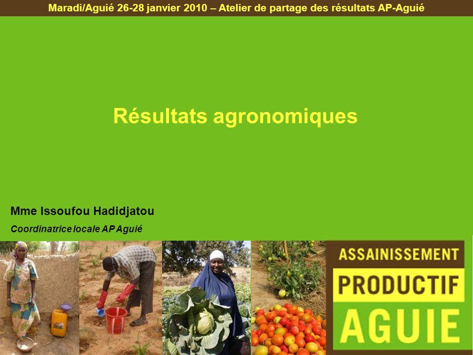 Résultats agronomiques