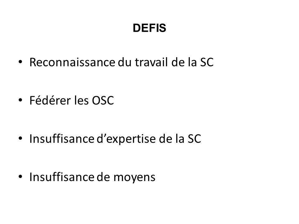Reconnaissance du travail de la SC Fédérer les OSC