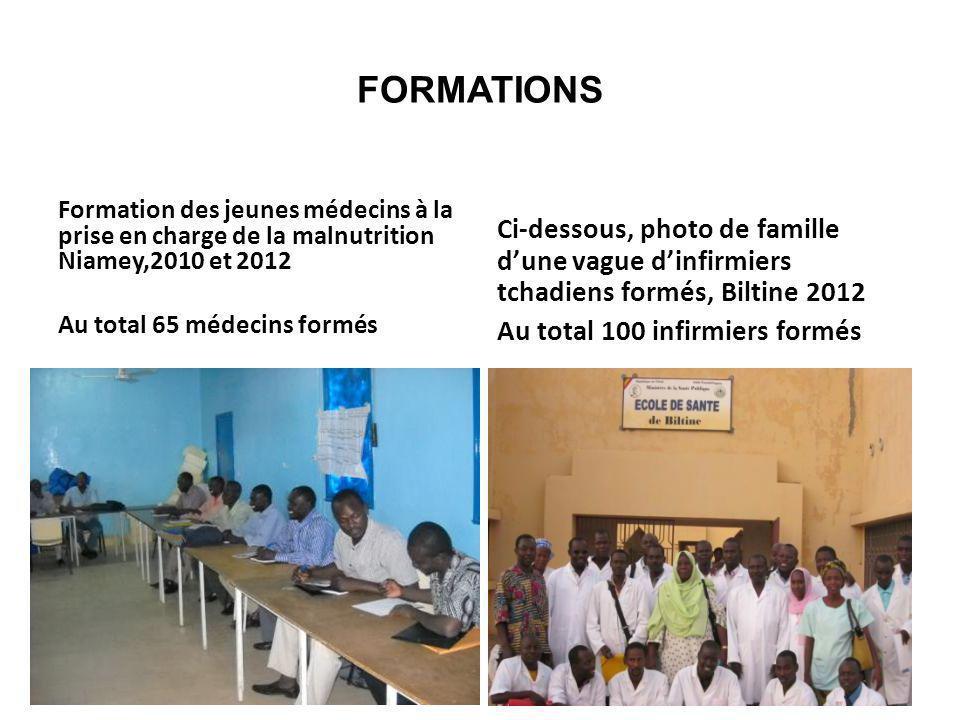FORMATIONS Formation des jeunes médecins à la prise en charge de la malnutrition Niamey,2010 et 2012.