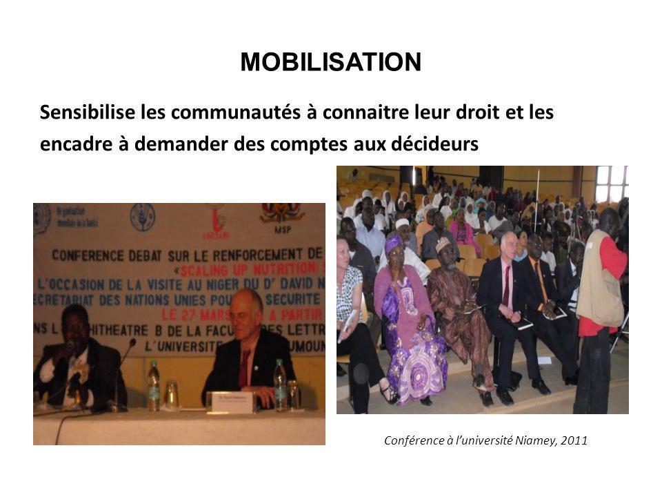 MOBILISATION Sensibilise les communautés à connaitre leur droit et les