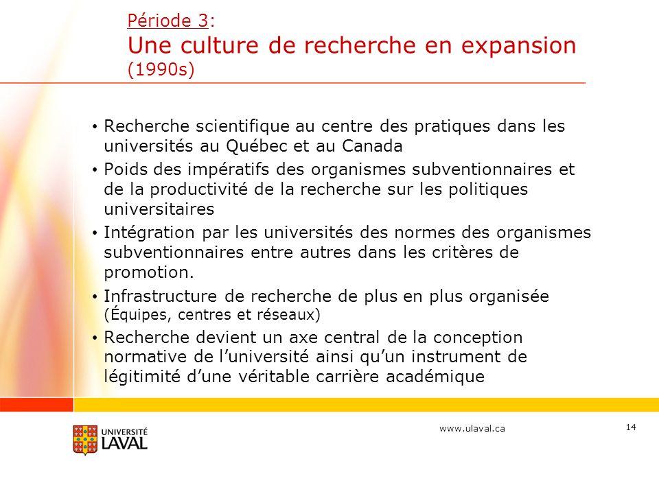 Période 3: Une culture de recherche en expansion (1990s)