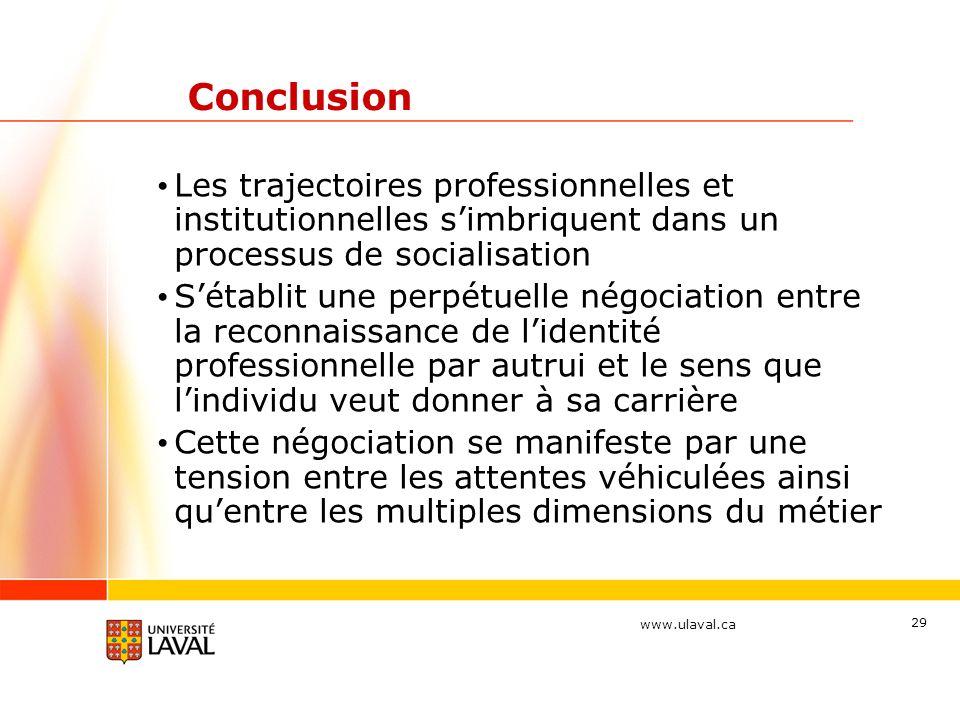 Conclusion Les trajectoires professionnelles et institutionnelles s'imbriquent dans un processus de socialisation.