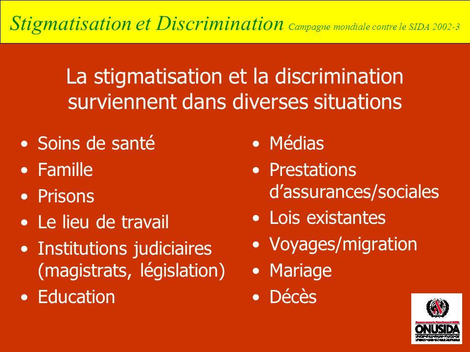 La stigmatisation et la discrimination surviennent dans diverses situations