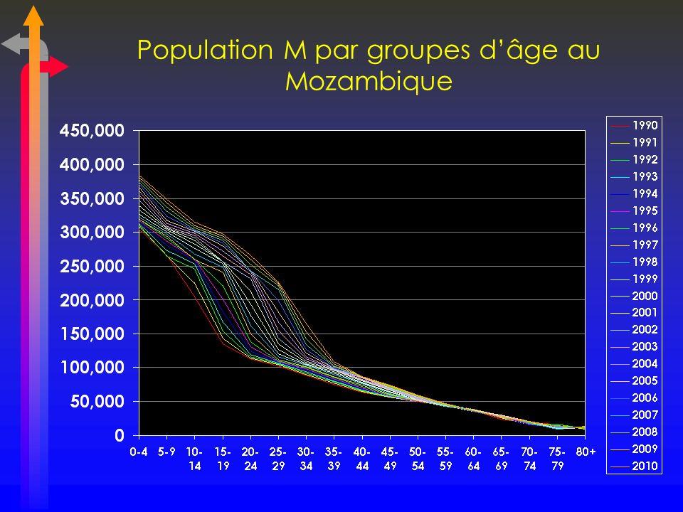 Population M par groupes d'âge au Mozambique
