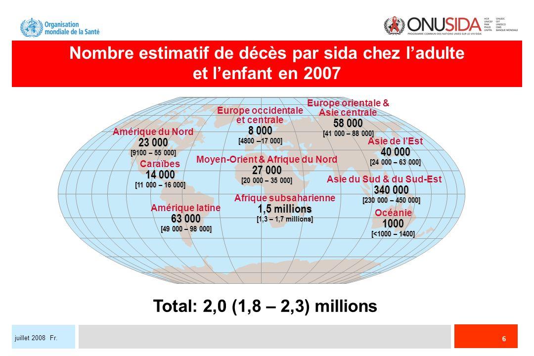 Nombre estimatif de décès par sida chez l'adulte et l'enfant en 2007