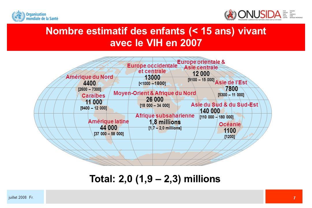 Nombre estimatif des enfants (< 15 ans) vivant avec le VIH en 2007