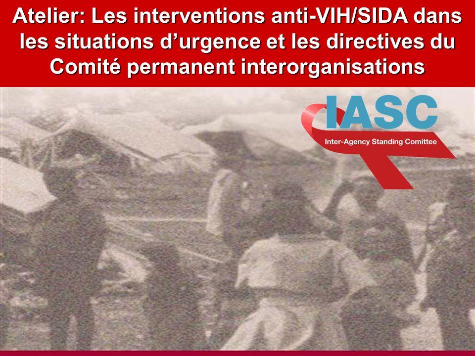 Atelier: Les interventions anti-VIH/SIDA dans les situations d'urgence et les directives du Comité permanent interorganisations