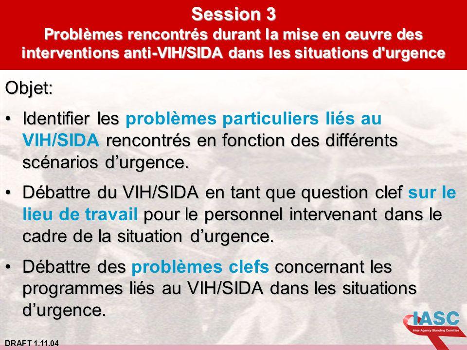 Session 3 Problèmes rencontrés durant la mise en œuvre des interventions anti-VIH/SIDA dans les situations d urgence