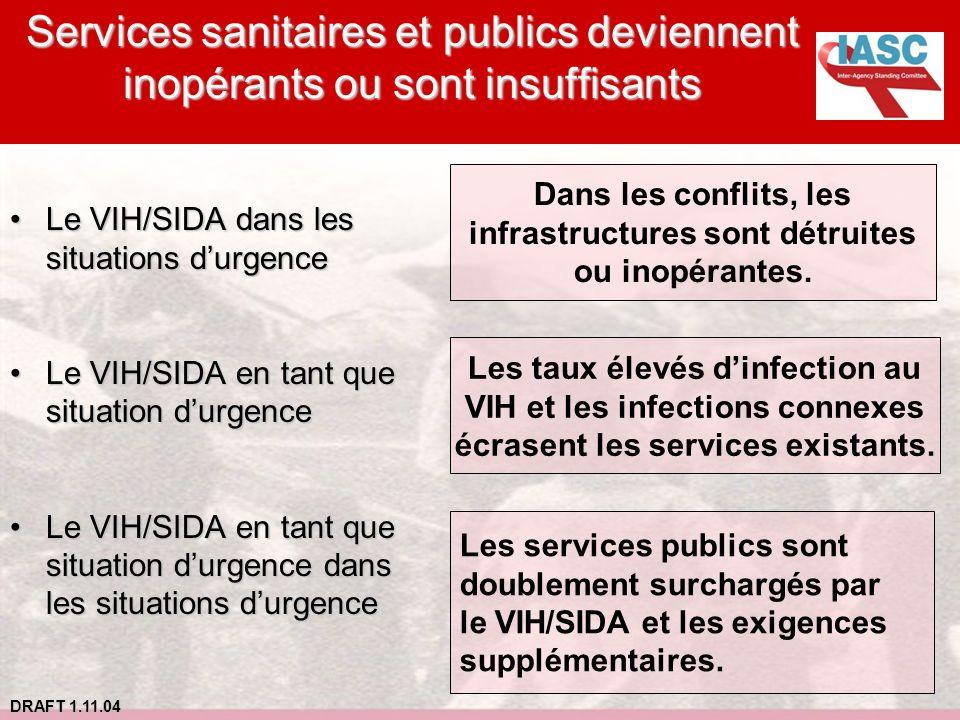 Services sanitaires et publics deviennent inopérants ou sont insuffisants