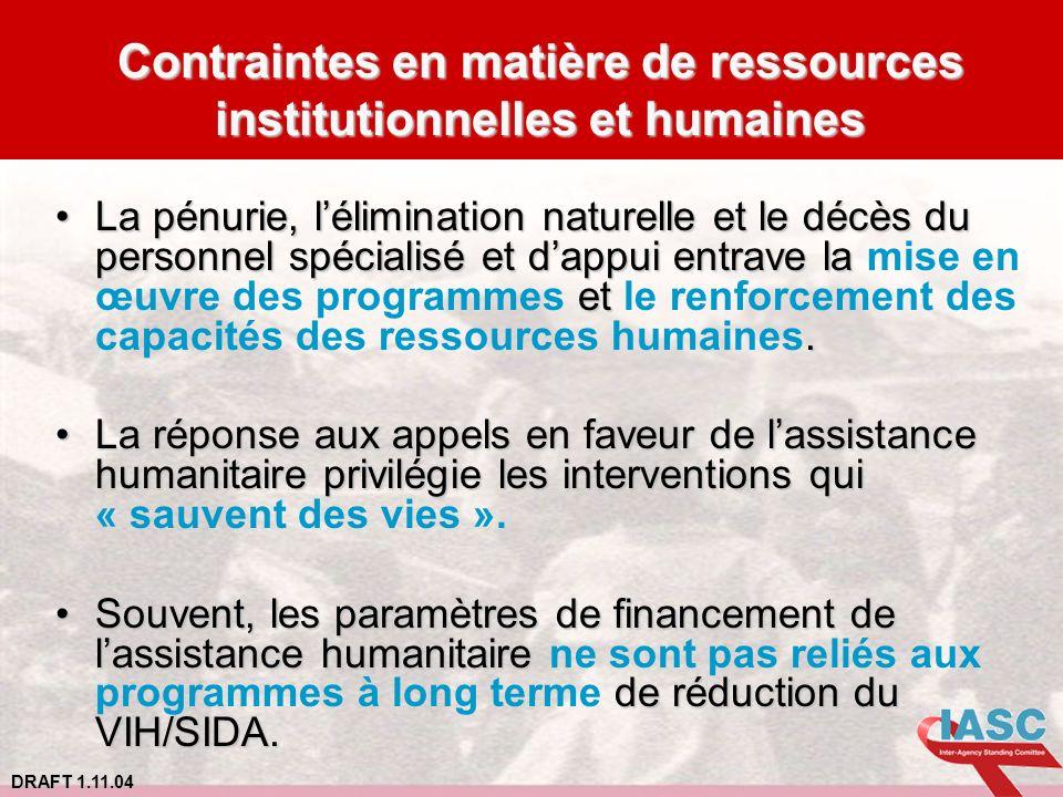Contraintes en matière de ressources institutionnelles et humaines