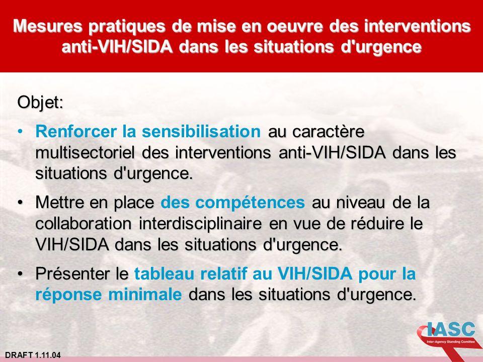Mesures pratiques de mise en oeuvre des interventions anti-VIH/SIDA dans les situations d urgence