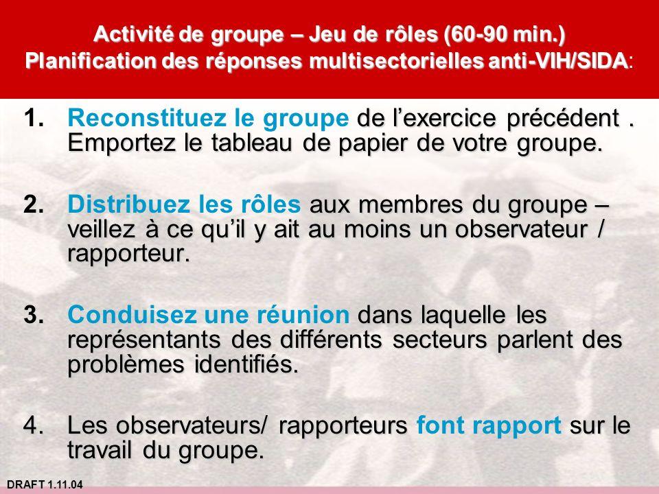 Les observateurs/ rapporteurs font rapport sur le travail du groupe.