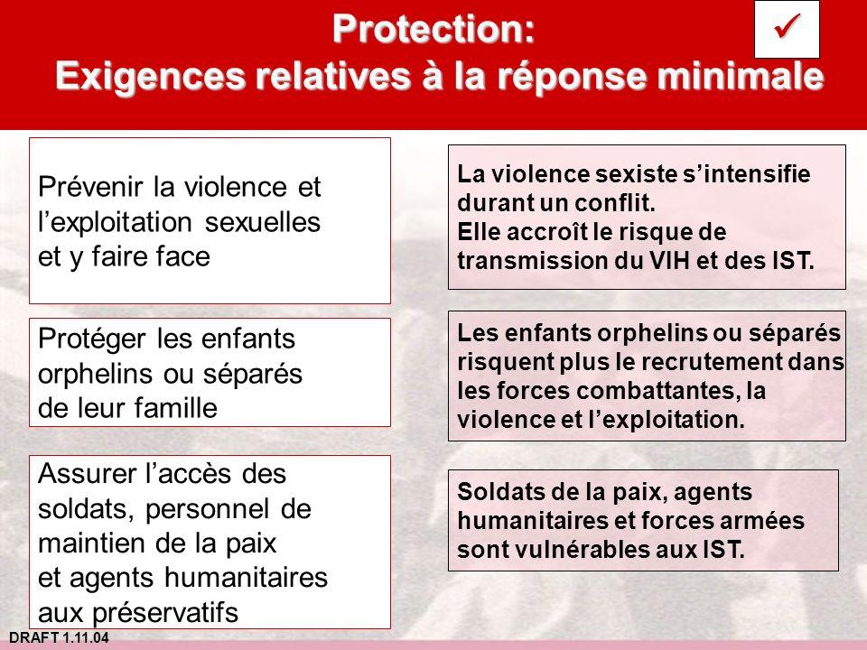 Protection: Exigences relatives à la réponse minimale