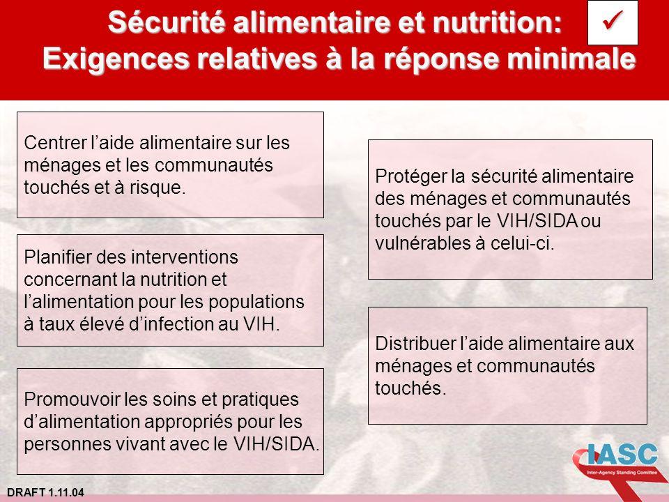Sécurité alimentaire et nutrition: Exigences relatives à la réponse minimale