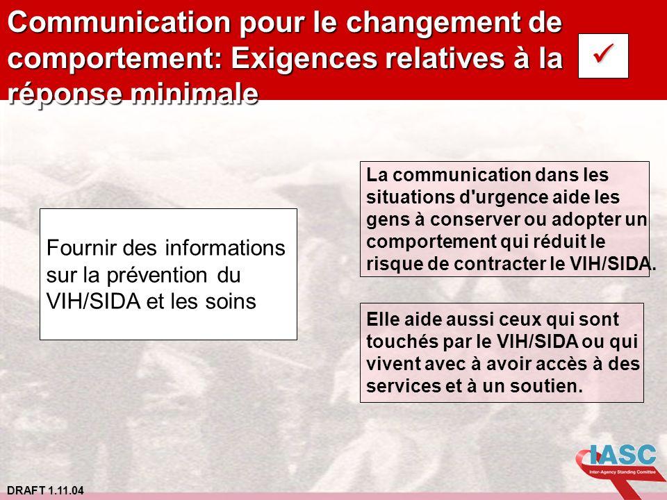 Communication pour le changement de comportement: Exigences relatives à la réponse minimale