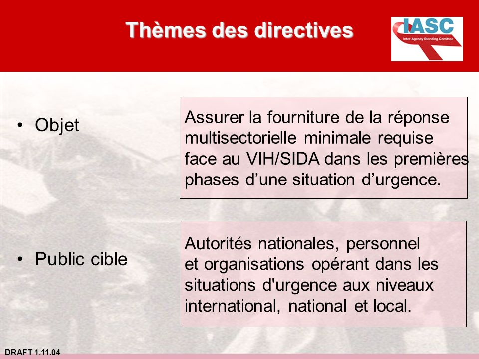 Thèmes des directives Objet Public cible