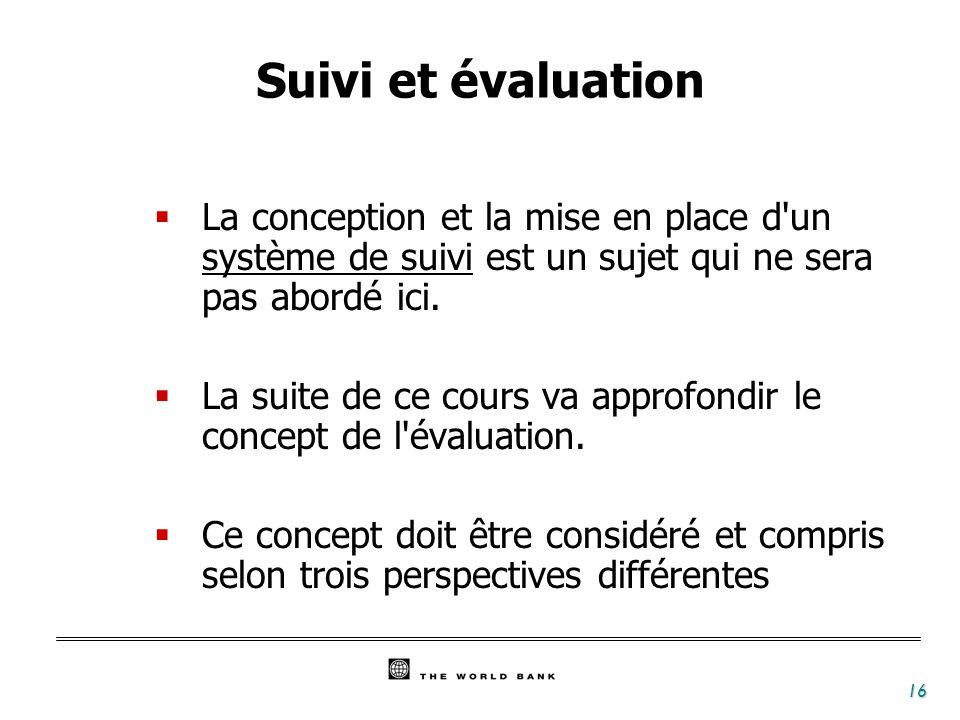Suivi et évaluation La conception et la mise en place d un système de suivi est un sujet qui ne sera pas abordé ici.