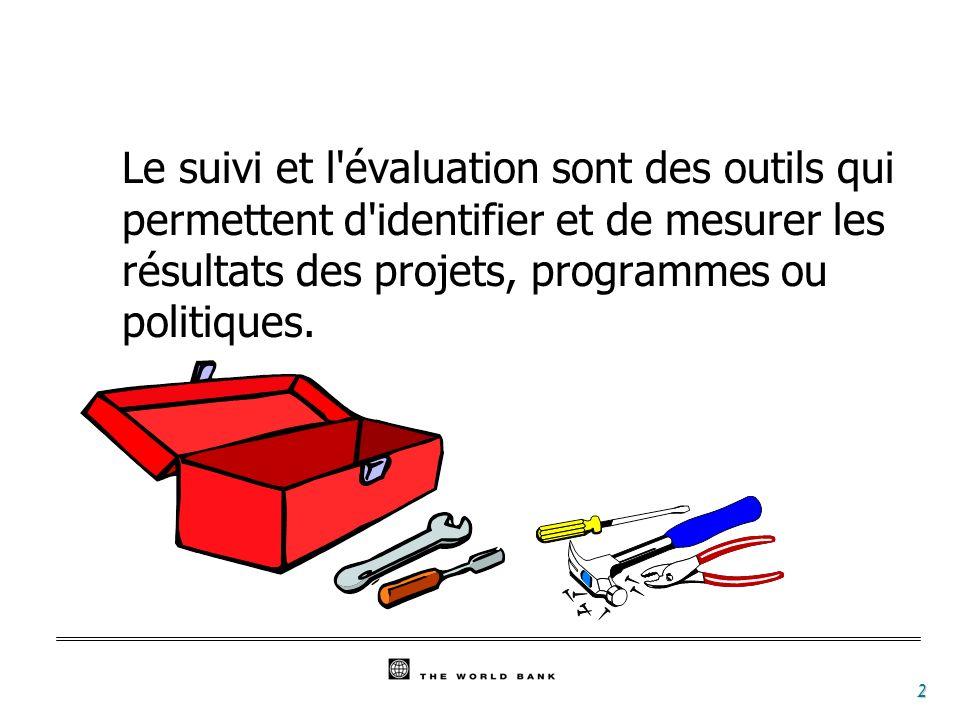 Le suivi et l évaluation sont des outils qui permettent d identifier et de mesurer les résultats des projets, programmes ou politiques.